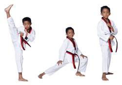 Black Red Belt TaeKwonDo Karate Kid athlete young teenager show traditional Fighting poses high round kick in sport uniform dress, studio lighting white background isolated full length profile