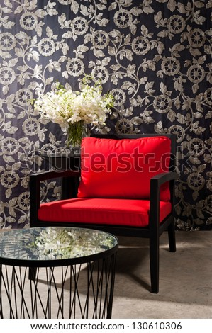 Black red Chair furniture with elegant wall decoration