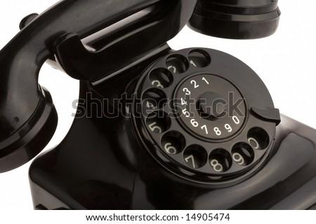 black retro telephon on white