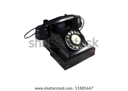 Black retro telephone with white background- isolated with clipping path