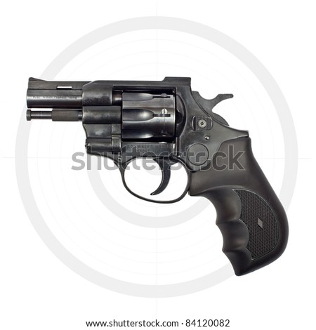 Black revolver gun and target isolated on white background