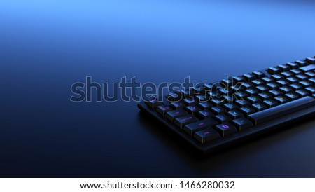Black RGB keyboard with backlit letters. Professional gamer device. #1466280032