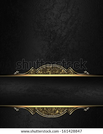 Black Rich Texture With Black Ribbon And Gold Pattern On The Edges