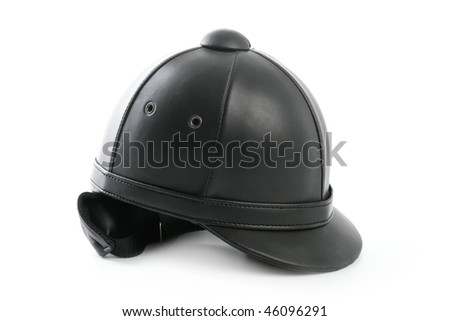 Black ridding cap for horse riders isolated on white - stock photo