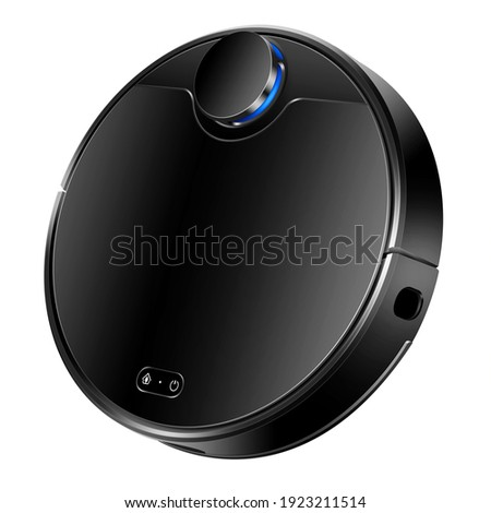 Black Robot Vacuum Isolated. Household Domestic Electric Small Appliances. Side View Modern Autonomous Smart Robotic Vacuum Cleaner or Roomba. Self Drive Cleaning Robot. Floor Cleaning System