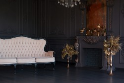 Black room interior with a vintage sofa, chandelier, mirror and fireplace