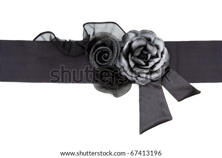 Black Rose fabric on a belt on a white background