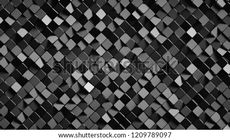 Stock Photo Black rotated rhombus shapes. Abstract geometric background. 3D render