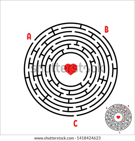 Black round maze. Game for kids. Children's puzzle. Many entrances, one exit. Labyrinth conundrum. Simple flat  illustration  on white background. With place for your image.