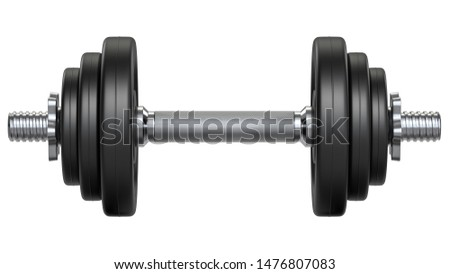 Black rubber metal Dumbbell orthogonal front view. 3d rendering illustration isolated on white background. Gym, fitness and sports equipment symbol Stock photo ©