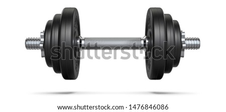 Black rubber metal Dumbbell with shadow. 3d rendering illustration isolated on white background. Gym, fitness and sports equipment symbol Foto stock ©