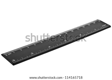 black ruler isolated on white