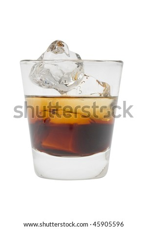 Black Russian mixed drink on a white background