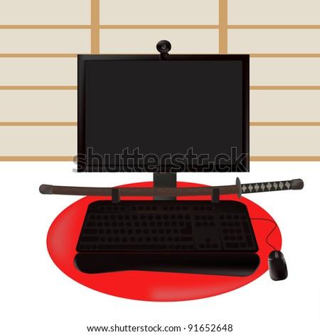 Black samurai. illustration to your ideas.