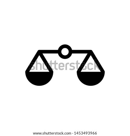 Black Scales of justice icon isolated on white background. Court of law symbol. Balance scale sign