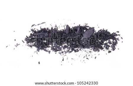 black scattered eye-shadows isolated on white background