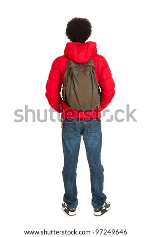 Black school boy in red coat wit backpack on back side