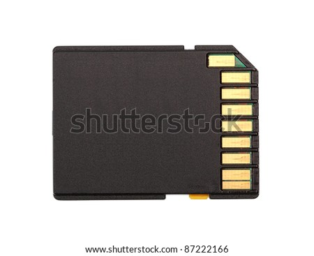 Black SD Memory Card. Isolated with clipping path.