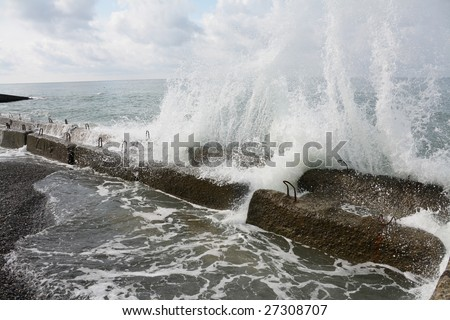 Black Sea - Breakwater and surf.