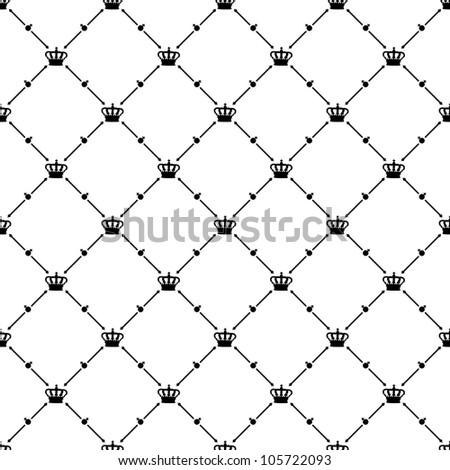 Black seamless pattern with king crown symbol, bitmap copy.
