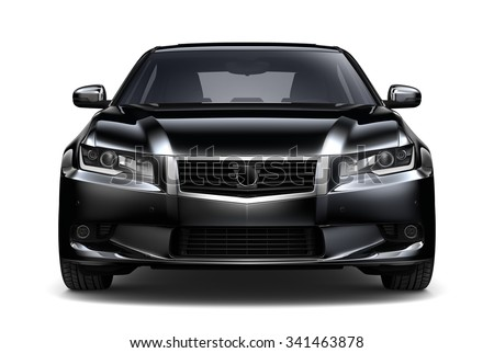 Black sedan car - front view