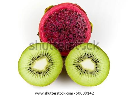 Black seeds of kiwi dragon fruit