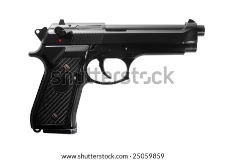 Black semi automatic handgun isolated on white background