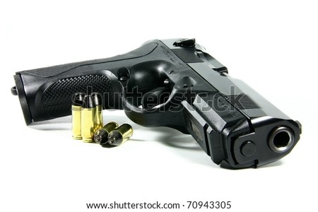 Black semi automatic handgun isolated on white background