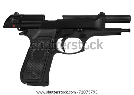 Black semi automatic handgun isolated on white background with a clipping path