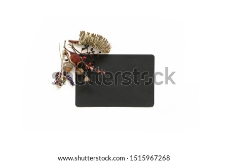 Black sheet of paper decorated with autumn flowers composition. Flat lay photo #1515967268