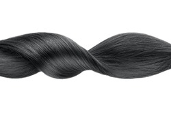 Black shiny hair wave, isolated over white