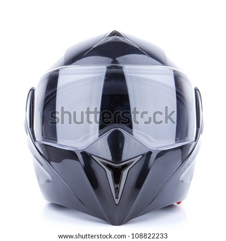 Black, shiny motorcycle helmet Isolated on white background - stock photo