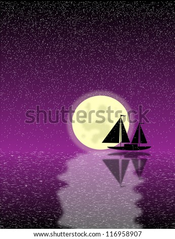 Black ship silhouette on sea at night