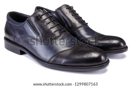Black shoe for male on white background. #1299807163