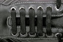 black shoe laces closeup