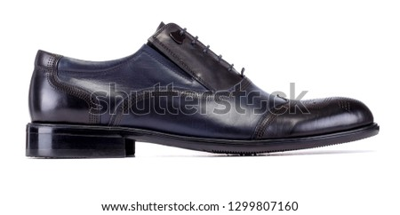Black shoe with dark blue pieces for male on white background #1299807160