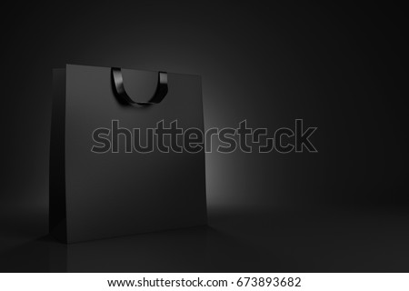 Black shopping bag on black background. Advertising and branding. 3d rendering