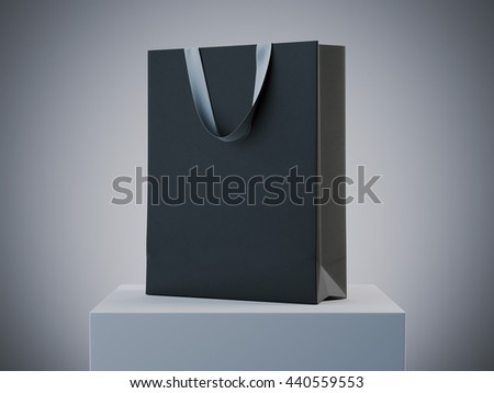 Black shopping bag on white podium in studio. 3d rendering
