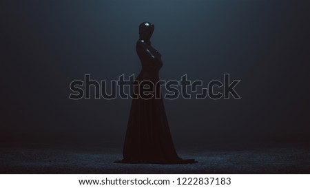 Black Shrink Wrapped Futuristic Haute Couture Dress Abstract Demon 3d illustration 3d render