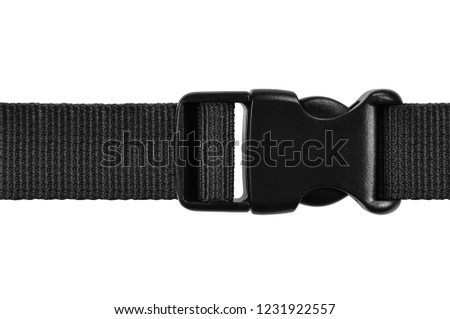 Black side release acculoc buckle plastic clasp, quick nylon belt rope lock strap, isolated macro closeup, large detailed horizontal accessory studio shot