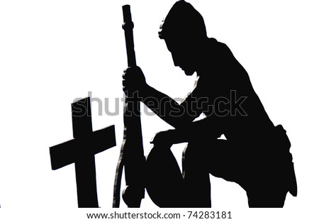 Black Silhouette against a white background of a solider kneeling with his rifle at the cross marked cemetery grave of a fallen brother in arms - stock photo