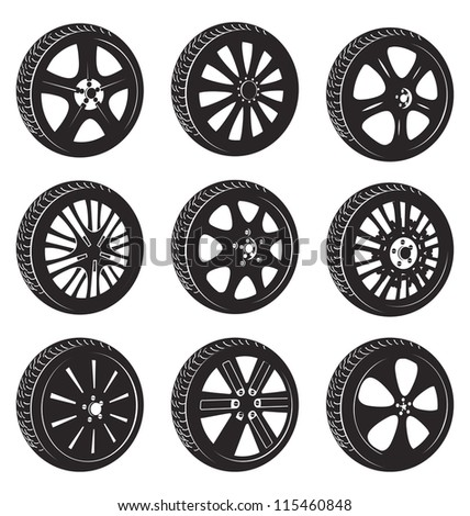 black  silhouette: automotive wheel with alloy wheels and tires