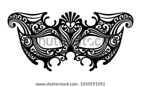 Black silhouette of a decorative carnival Venetian mask isolated on white