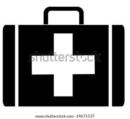 black silhouette of a first aid case -  illustration
