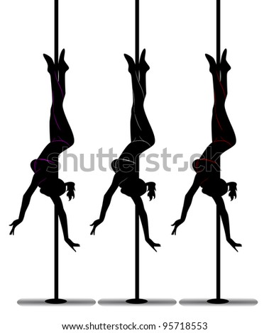black silhouette of a  girl dancing on a pole