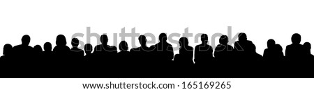 black silhouette of a large audience, panoramic view Stock photo ©
