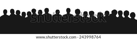 black silhouette of a large audience, panoramic view