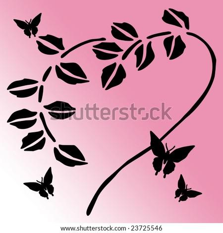 clip art flowers border. Heart Shaped Flower Stem