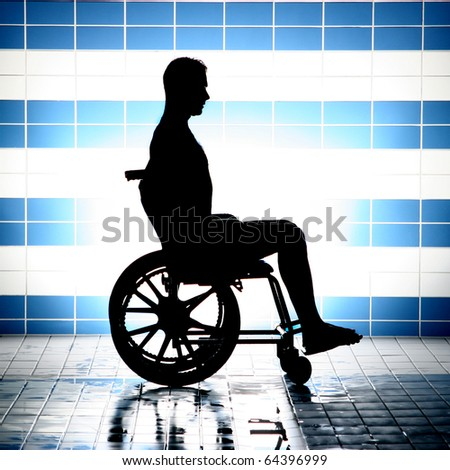 black silhouette of disabled on wheelchair