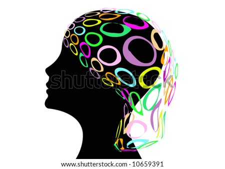 black silhouette of female head and colorful net hat